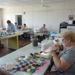The Patchwork group meet regularly to sew quilts and many other creation